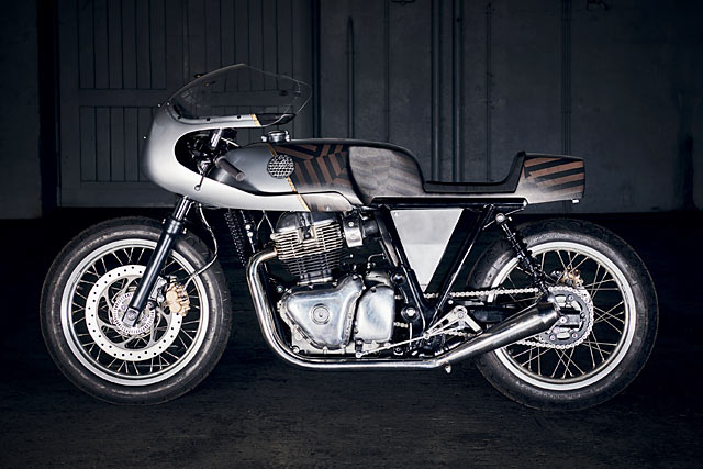 NEW SKIDS ON THE BLOCK. Young Guns' Royal Enfield 650 GT Racer