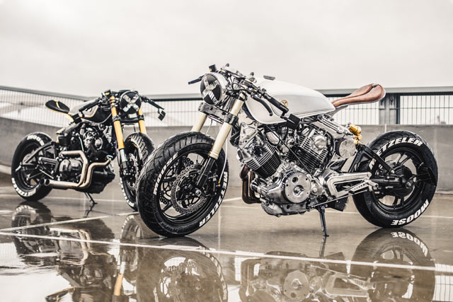 HERD MENTALITY. Two Yamaha XV Cafe Fighters from Moose Motodesign