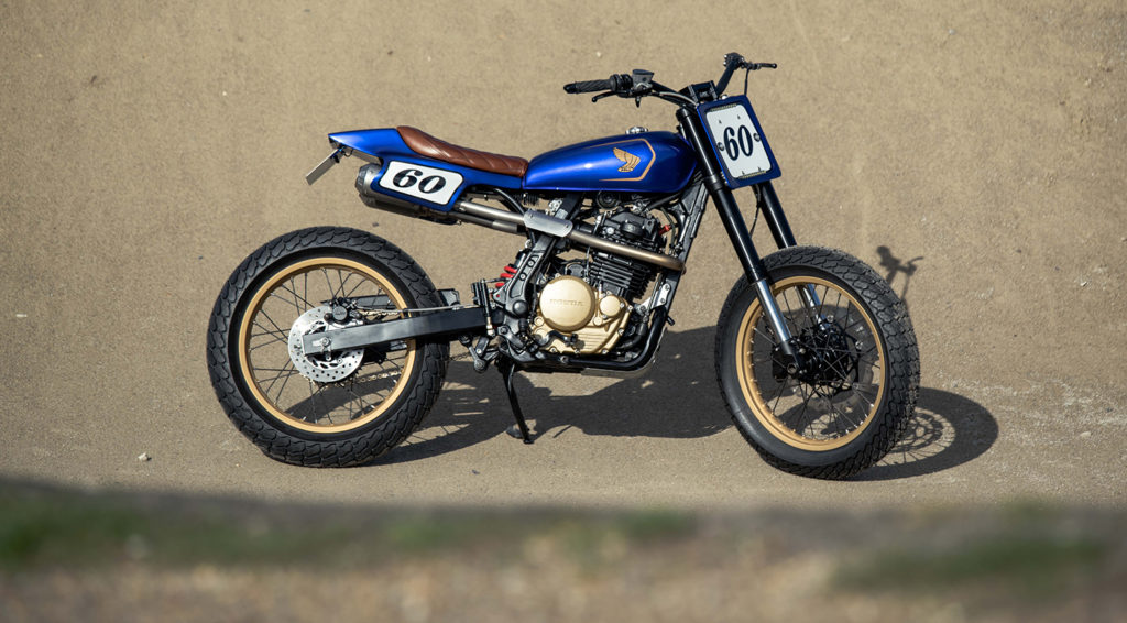 TRICKED OUT TRACKER: 1990 Honda NX650 'Primera' Dominator by Side Rock Cycles.